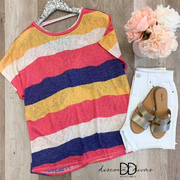 Short Sleeve Striped Top With Back Twist Detail