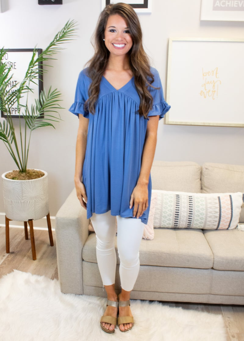 Short Sleeve V- Neck Tunic With Ruffle Sleeve Detail