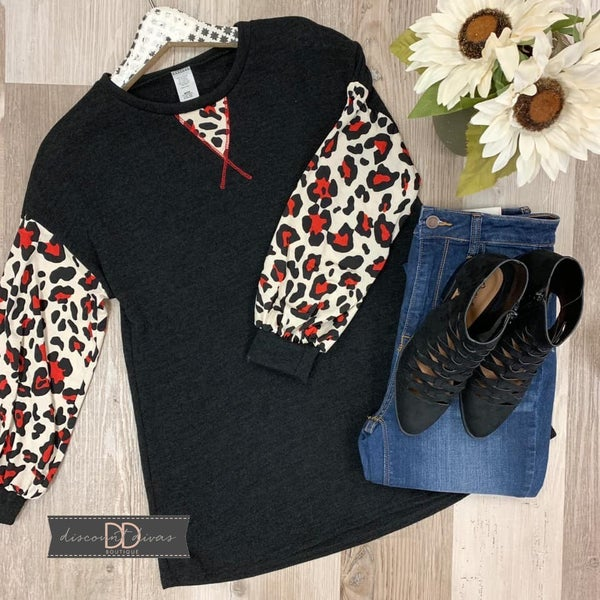 Long Sleeve Top With Animal Print Sleeves *Final Sale*