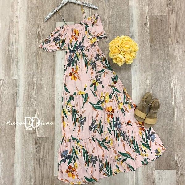 Sleeveless Cold Shoulder Floral Print Maxi Dress