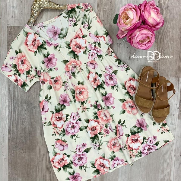 Floral Printed Babydoll Mini Dress