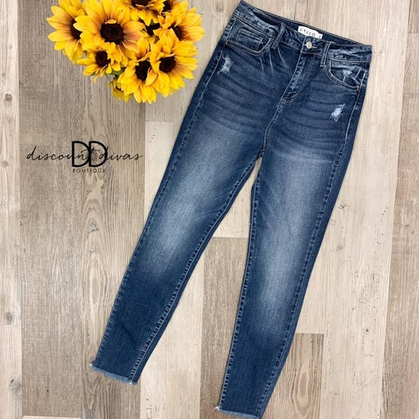 High Rise Distress Crop Skinny Jeans