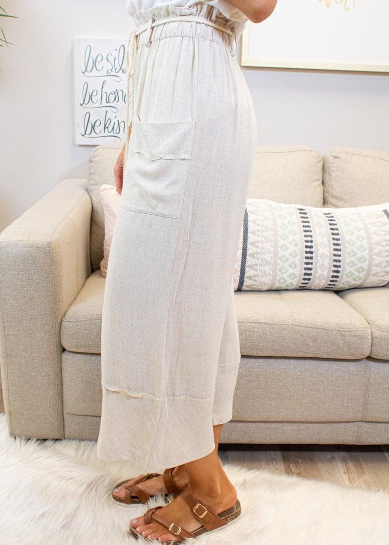 Capri Linen Pants With Waist Tie Detail