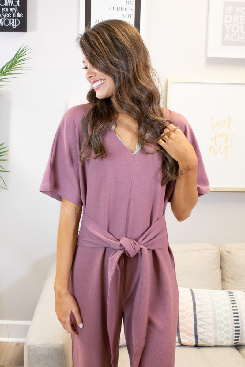Short Sleeve Jumpsuit With Tie Waist Detail