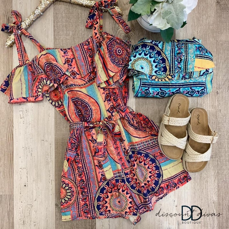 Tribal Print Off Shoulder Short Romper