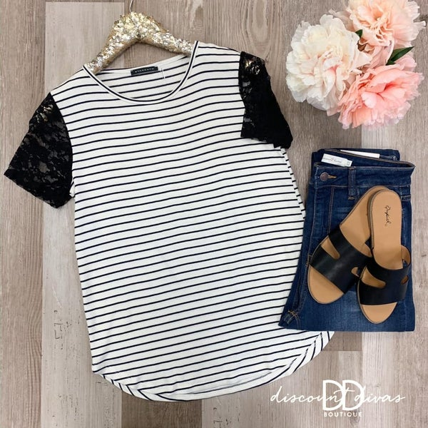 Striped Top With Lace Sleeve