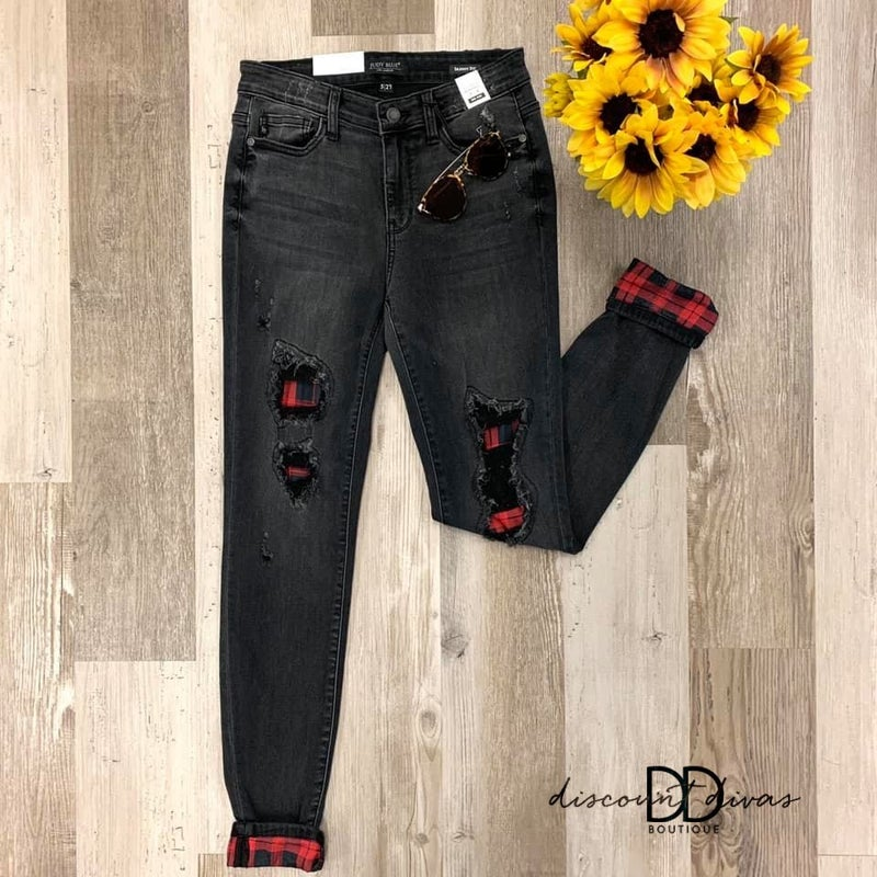 Plaid Perfection Skinny Jeans *Final Sale*