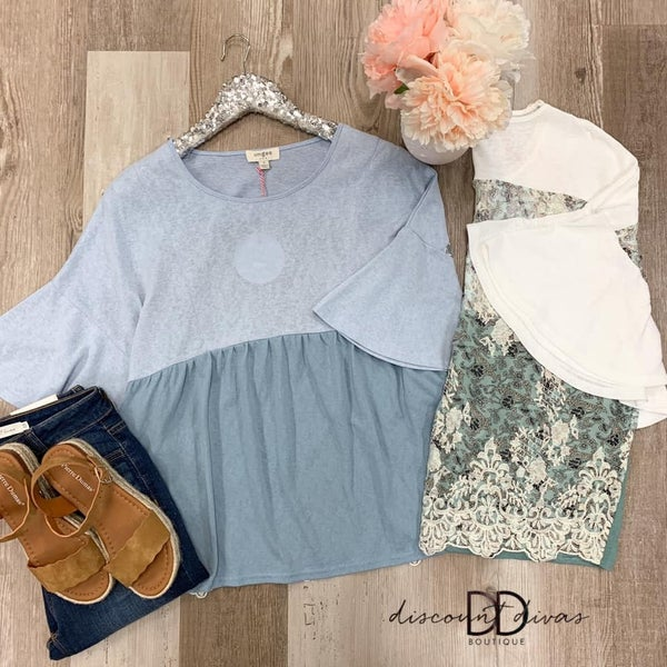 Short Bell Sleeve Top with Floral Lace Print