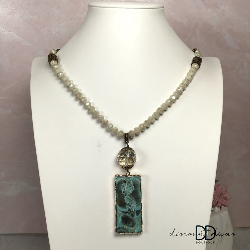 Beaded Necklace With Rectangle Pendant
