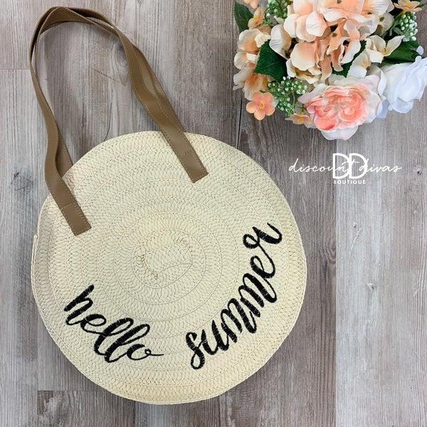 Embroidered Round Straw Handbag *Final Sale*