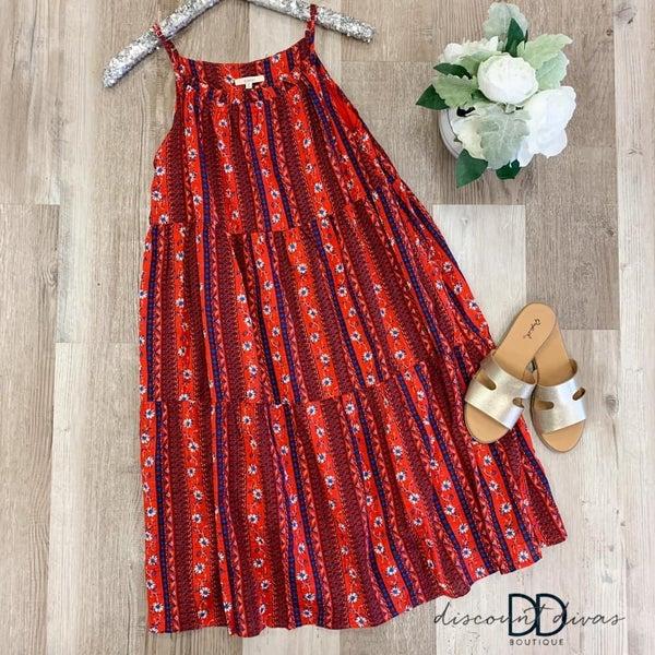 Boho Printed Babydoll Dress