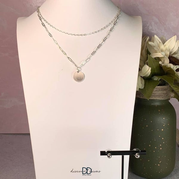 Coin Necklace With Layered Chains and Earring Set