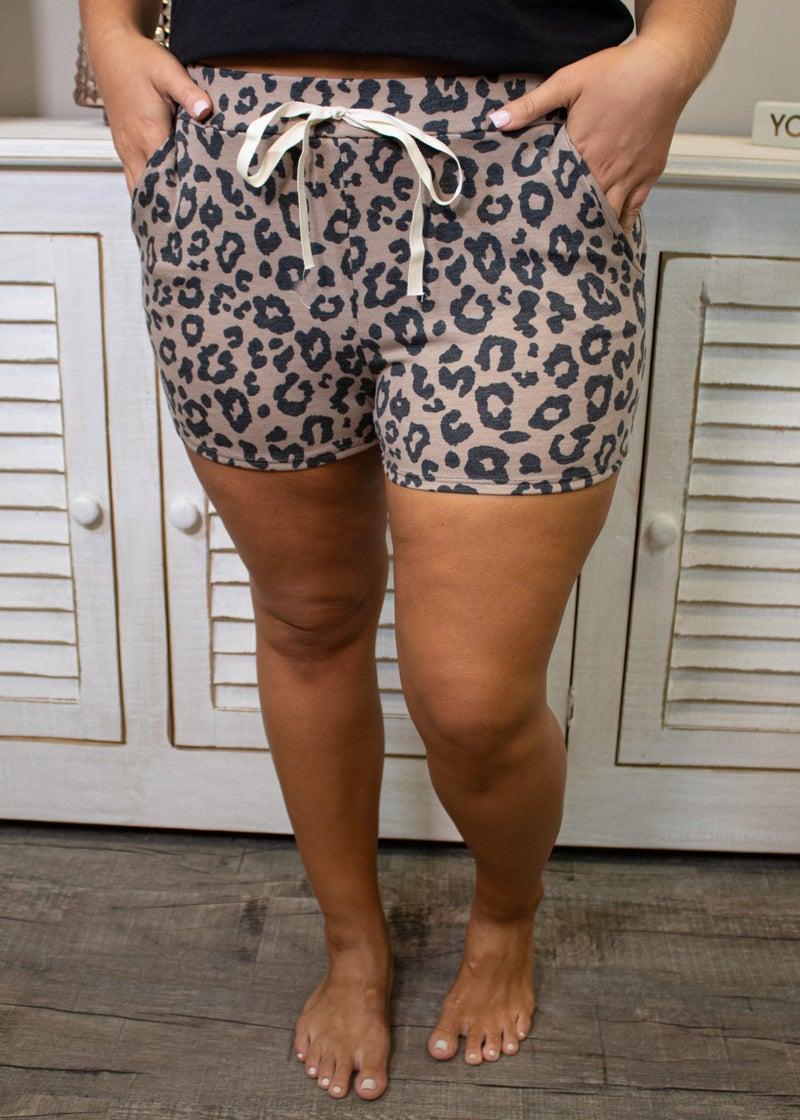 Callin' In Cozy Leopard Shorts