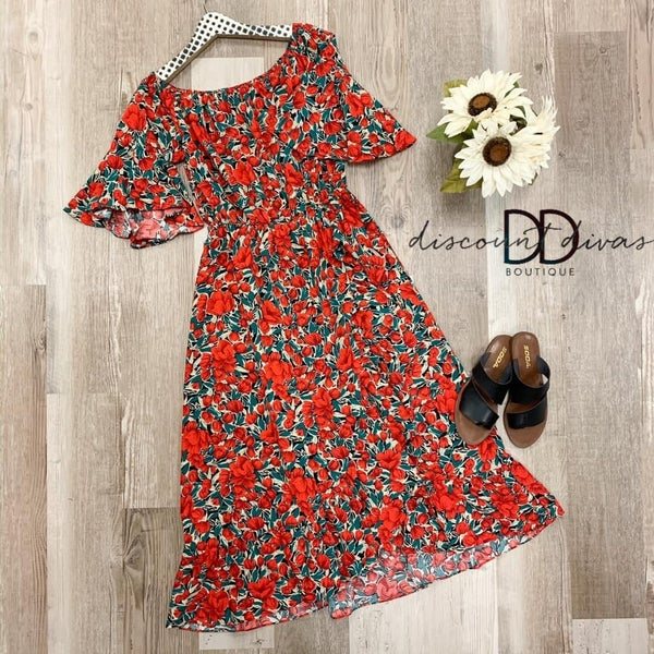 Floral Print Ruffle Sleeve Off Shoulder Dress