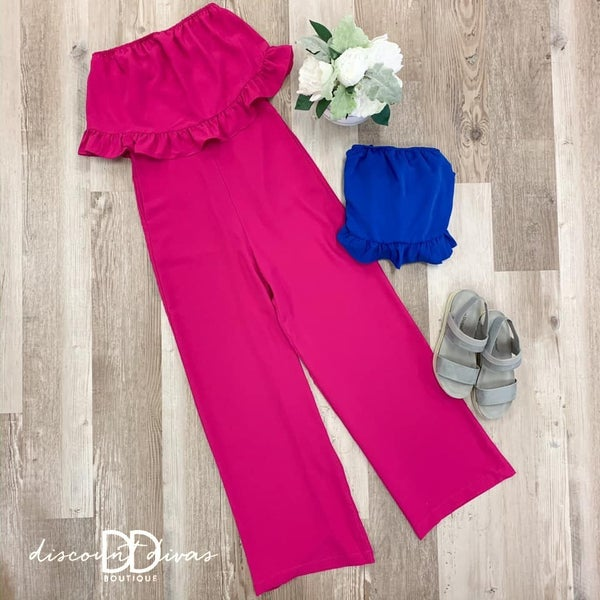 Strapless Jumpsuit With Ruffle Detail