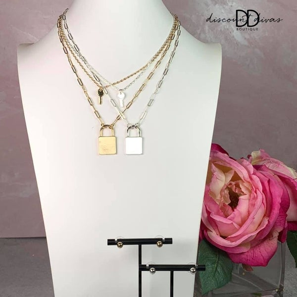 Layered Necklace Set With Locket And Key