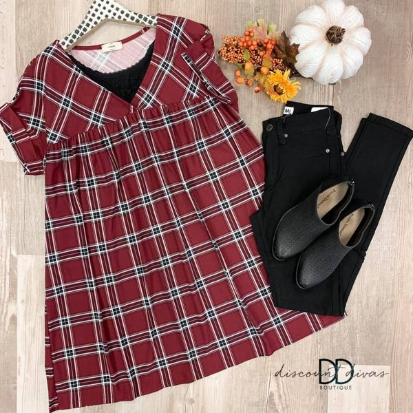 Short Cuff Sleeve Plaid Tunic