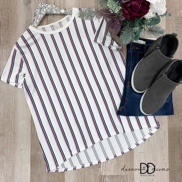 Striped Round Neck Short Sleeve Top *Final Sale*