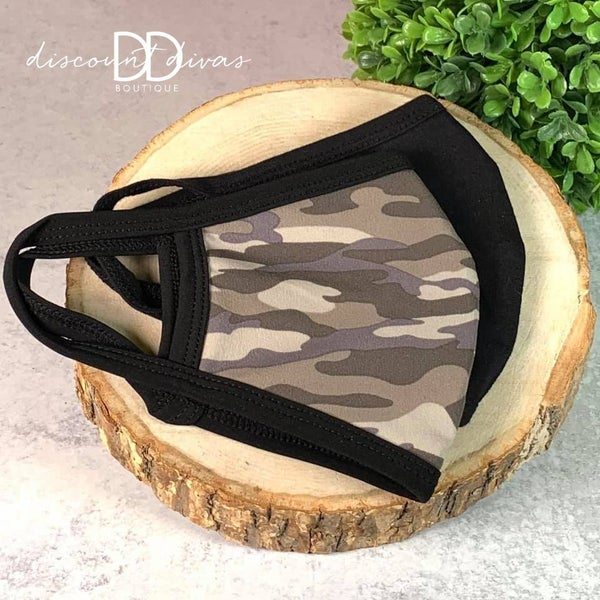 Set of 2 Washable Cotton mask  Dusty Camo and Black *Final Sale*