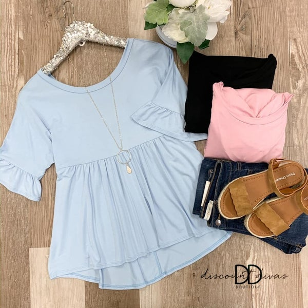 Short Sleeve Babydoll Top With High Low Hem Detail