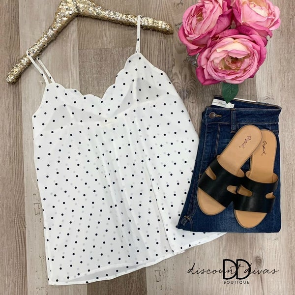 Polka Dot Cami Top with Scallop Detail *Final Sale*
