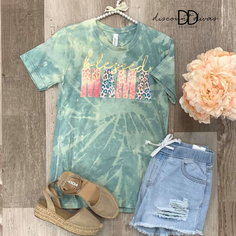 Blessed Mama Bleached Tee