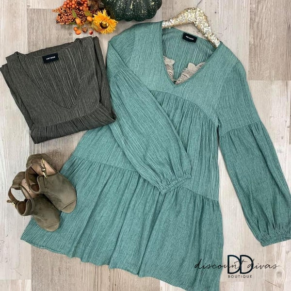 Long Sleeve Lined Ruffle Dress