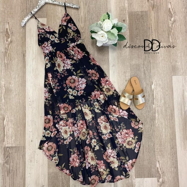 Sleeveless Floral Print High Low Dress