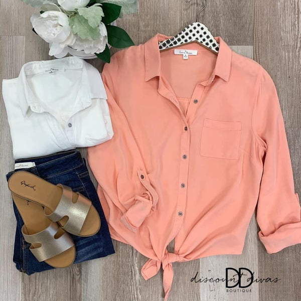 3/4 Sleeve Button Up Top With Front Tie Detail