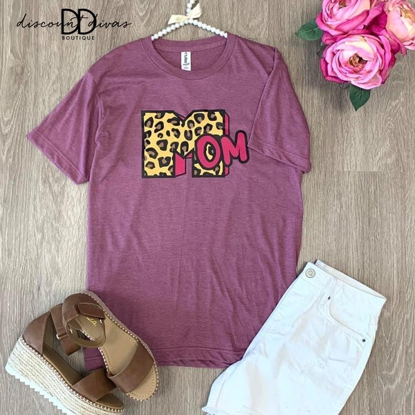 Mom Leopard Graphic Tee