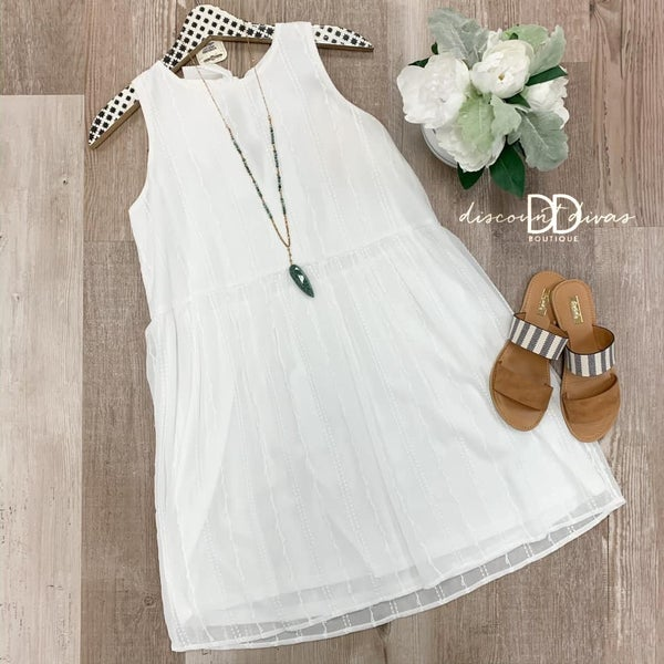 Sleeveless Babydoll Dress With Back Tie Detail