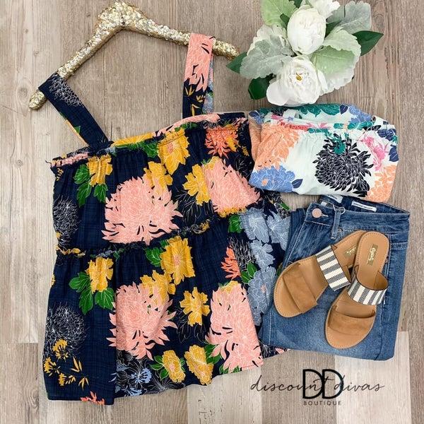 Floral Print Ruffle Tunic