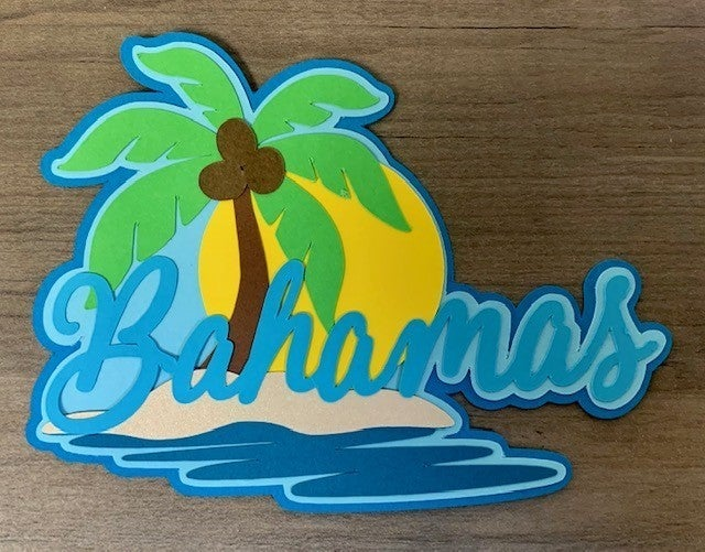 Bahamas Die Cut Size 4 1/2 x 3