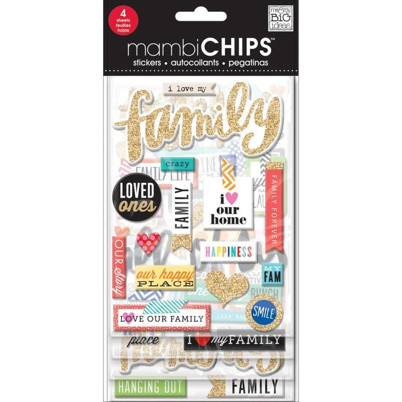 Love Family Chipboard Stickers