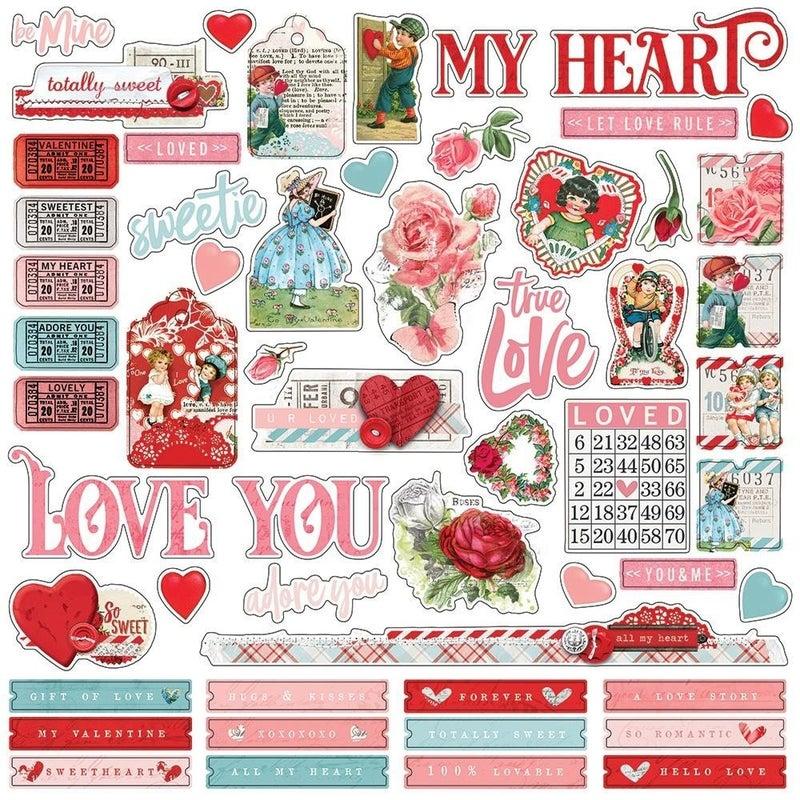 My Valentine 12x12 Sticker Sheet