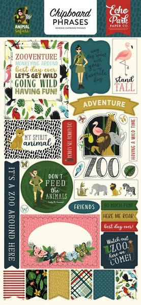 Animal Safari Zoo Chipboard Phrases