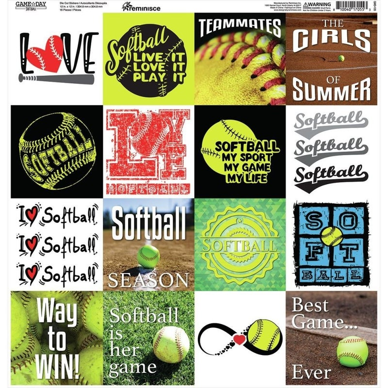 Game Day Softball 12x12 Sticker Sheet