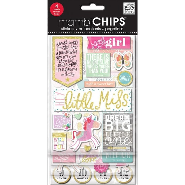 Little Girl Mambi Chipboard Stickers