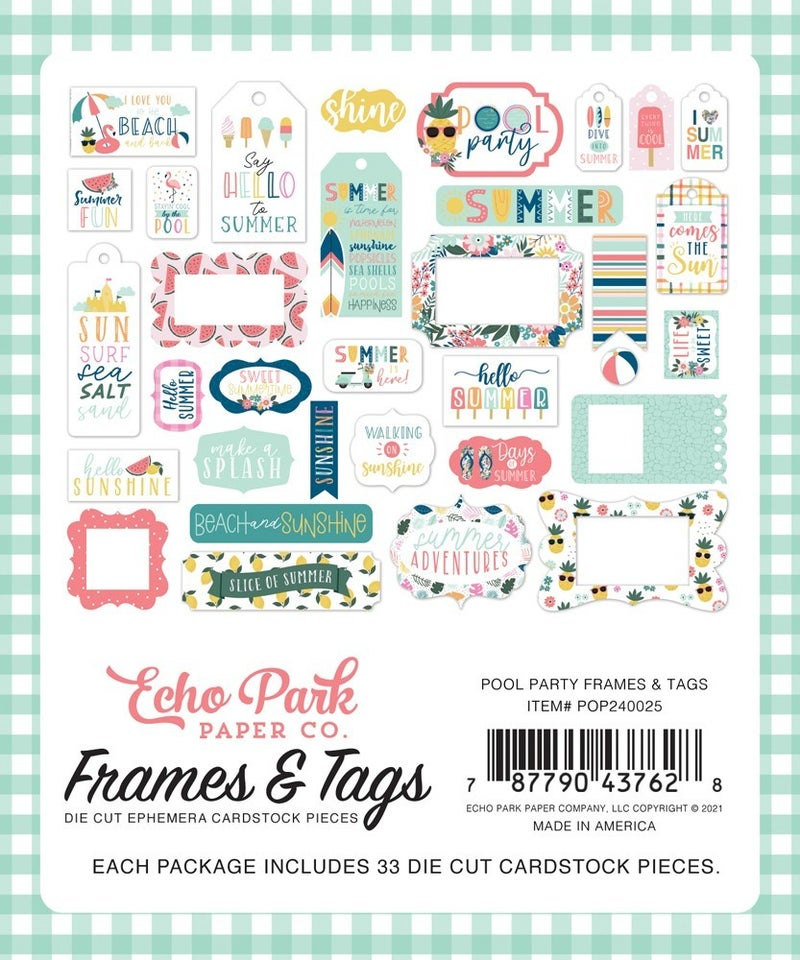 Pool Party Frames & Tags Die Cuts