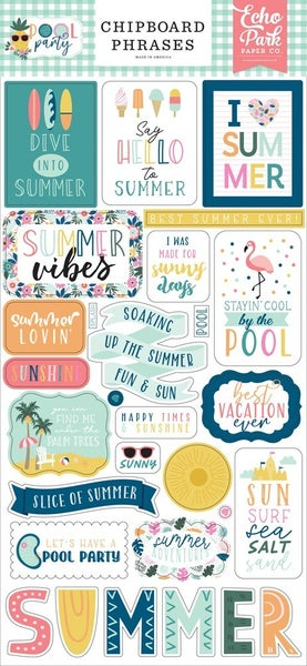 Pool Party Chipboard Phrases