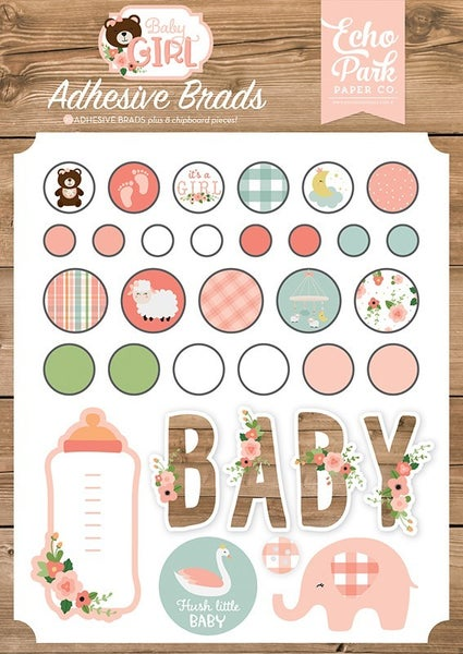 Baby Girl Adhesive Brads and Chipboard