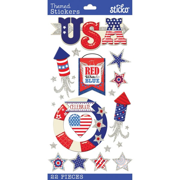 USA 4th of July 3D Stickers