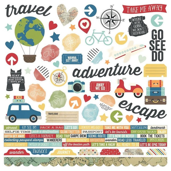 Travel Note 12x12 Sticker Sheet