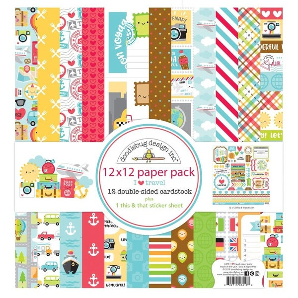 """Doodlebug Double-Sided Paper Pack 12""""X12"""" I Heart Travel"""