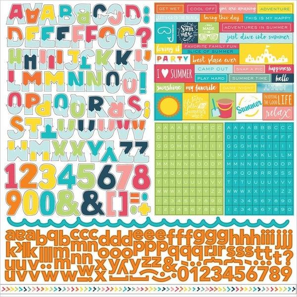 Summer Party Alphabet 12x12 Sticker Sheet