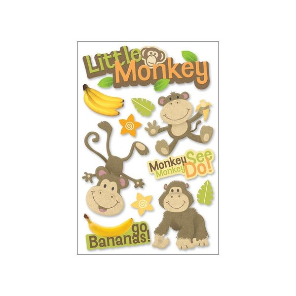 Lil Monkey 3D Baby Stickers