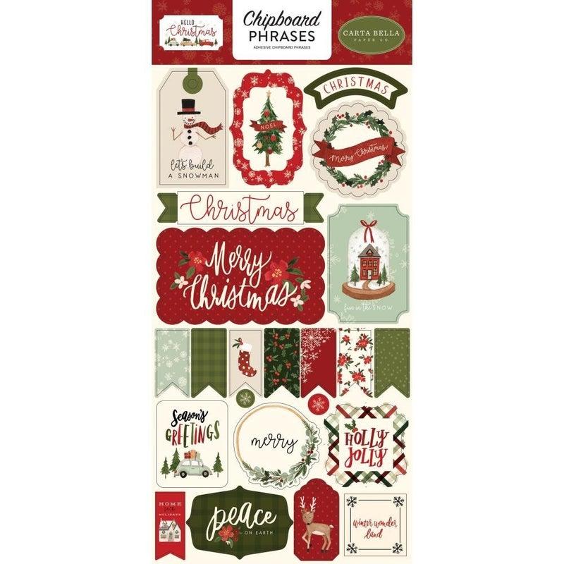 Hello Christmas Chipboard Phrases