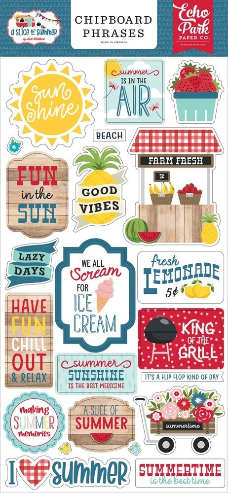 A Slice of Summer Chipboard Phrases