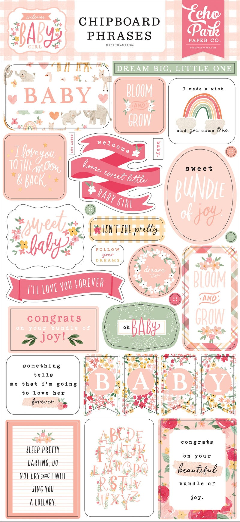 Welcome Baby Girl Chipboard Phrases