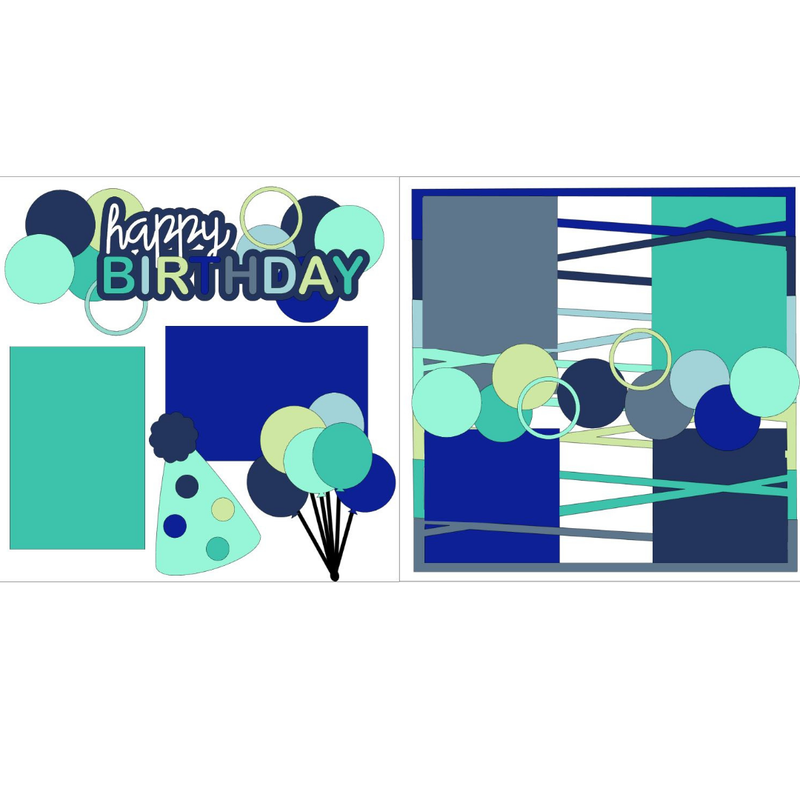 Happy Birthday Cool Colors Kit